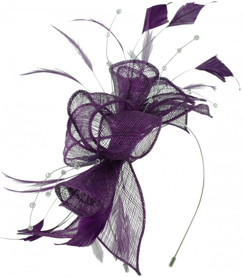 Max and Ellie Diamante Fascinator in Violet