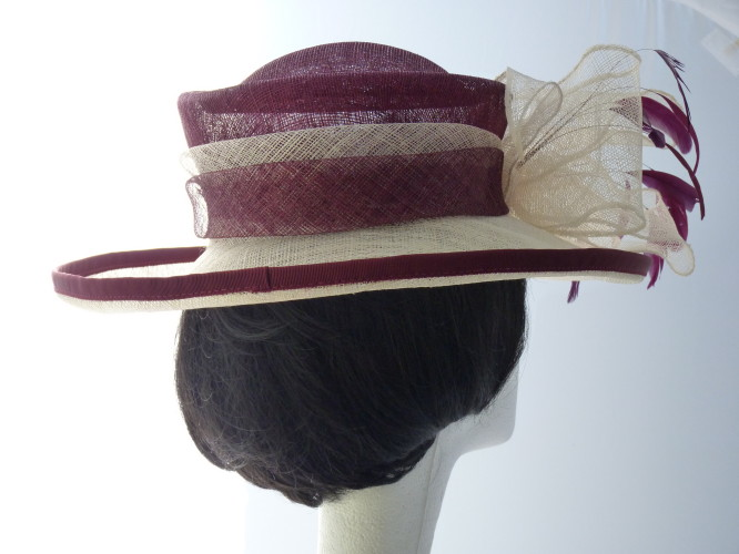 Wedding hat Mulberry and Cream