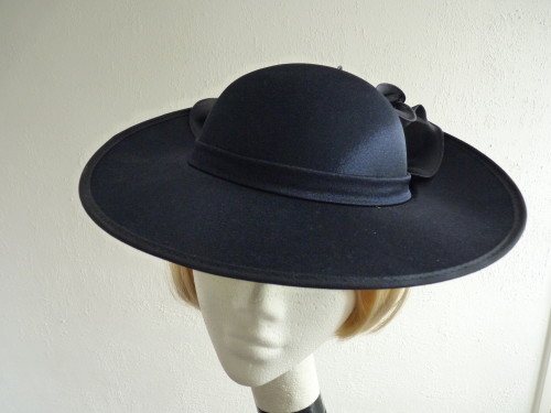 British Hat Guild Wedding hat Navy with Ruffle