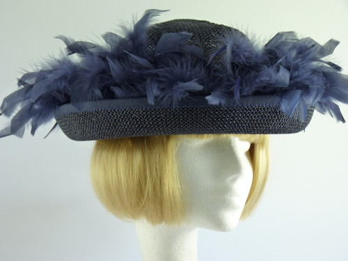 C&A Wedding Hat / Mother Of The Bride Hat Navy Feather