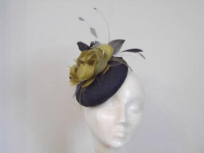 Designer Millinery by Rachel Wykes Wedding headpiece Dark Grey