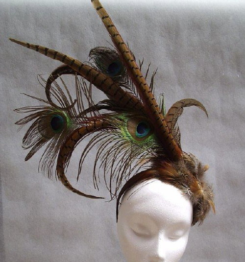 Dawn Liddle Millinery Creations Wedding headpiece Peacock