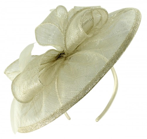 Failsworth Millinery Sinamay Disc Headpiece in White-Silver