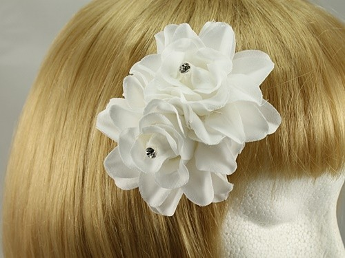White Diamante Rose Clip