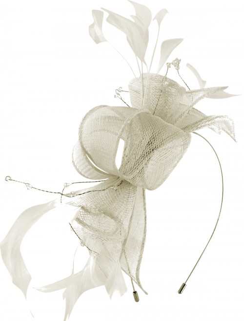 Max and Ellie Diamante Fascinator in White