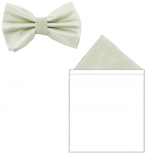 Max and Ellie Mens Bow Tie and Pocket Square Set in White