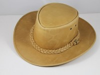 B.E. Hats Leather Hat in Pale Brown