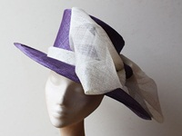 Couture by Beth Hirst Purple Rounded Brimmed Hat with Bow detail