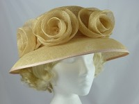Beige Rosette Wedding Hat