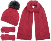 Boardman Knit Bobble Hat with Matching Scarf and Gloves