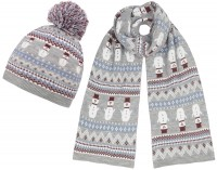 Boardman Snow Bobble Hat with Matching Scarf
