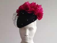 Couture by Beth Hirst Catherine – Black Veiled Beret with pink Flowers