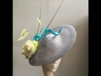 Couture by Beth Hirst Silver Rose Quills Headpiece