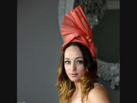 Deb Fanning Millinery Burnt Orange Silk Sinamay Headpiece