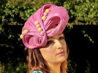 Deb Fanning Millinery Pink Silk Sinamay Headpiece