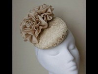 Esther Louise Millinery Champagne Lace and Rose Button Headpiece