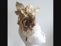 Edel Staunton Millinery Gold Rose Headpiece