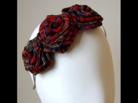 Esther Louise Millinery Red Tartan Headpiece