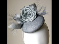 Esther Louise Millinery Silver Sinamay Button Hat