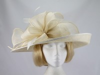 Failsworth Millinery Cream and White Ascot Hat