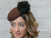 Fraser Annand Millinery Dot Wool Button Beret in Dark Brown