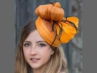 HATS by Emelle Clementina Orange Sinamay Pillbox