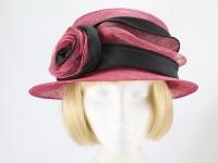 Hat Box Raspberry and Black Formal Hat