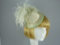 Wedding headpiece Green and Cream