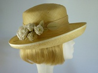 Ladies Summer hat Lemon and White