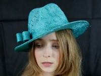 Matthew Eluwande Millinery Turquoise Straw Hat