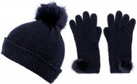 Alice Hannah Alina Diagonal Ribbed Beanie with Matching Gloves
