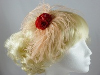 Rose and Ostrich Feather Fascinator