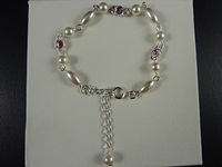 Pearl Bead and Gem Bracelet