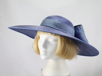 Peter Bettley Hyacinth and Blue Wide Brimmed Ascot Hat