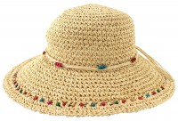 SSP Hats Beaded Woven Straw Wide Brim Hat