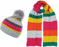 Boardmans Stripey Beanie Bobble Hat with Matching Scarf