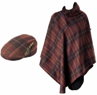 Failsworth Millinery Wool Flat Cap with Matching Tweed Cape