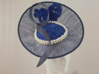 Suzie Mahony Designs Avril Navy and Royal Lace Hat