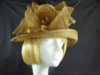 Failsworth Millinery Wedding hat Gold Quill