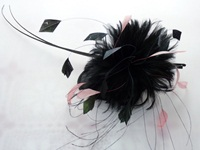 Wedding headpiece Black Pink Quills