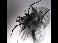 Couture by Beth Hirst Black and White Large Crin Fascinator