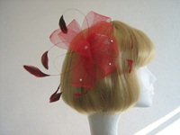 Wedding fascinator Red