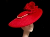 Ashleigh Myles Millinery Red Disc Headpiece