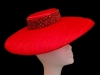 Ashleigh Myles Millinery Red Sinamay Saucer Hat