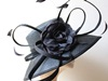 Couture by Beth Hirst Black Straw Ascot Hat With Flower & Feather Detail