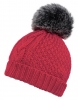 Boardman Cable Knit Bobble Hat in Berry