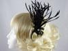 Rara Avis Millinery Sinamay Loops and Biots Fascinator in Black