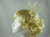Rara Avis Millinery Sinamay Loops and Biots Fascinator in Cream