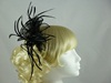 Fascinator with Curled Fabric and Biots in Black