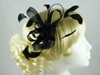 Aurora Collection Fascinator with Loops and Feathers in Black